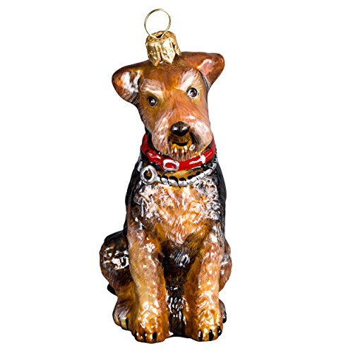 Welsh Terrier Glass Christmas Ornament