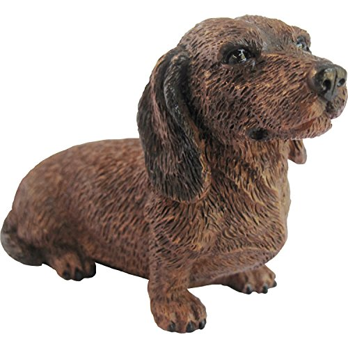 Sandicast Sculpture, Small, Sitting Red Dachshund