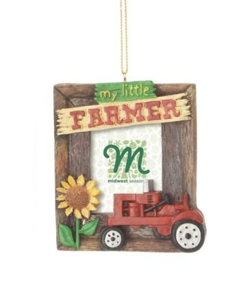 "Red ""My Little Farmer"" Tractor Christmas Photo Frame Ornament"