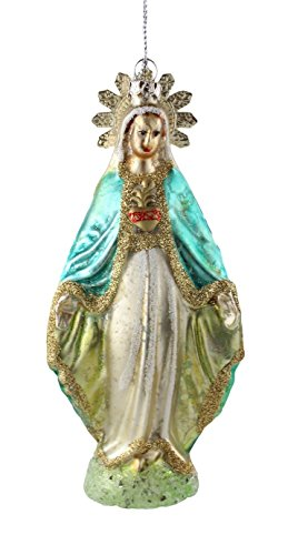 Virgin Mary Our Lady of Grace with Tin Halo and Sacred Heart Embellishments Glass Vintage Style Antique Finish Ornament