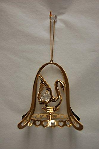 24k Gold Plated Swan w/ Bell Shape Oanment – Swarovski Crystal