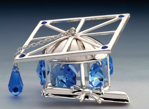 Graduation Hat Silver Plated Swarovski Crystal Ornament