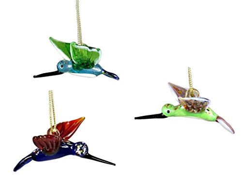 Decorative Hanging Glass Hummingbird Ornaments – Set of 3