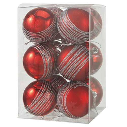 "Set of (12) Shatterproof Christmas Ornament Balls, Cherry Red with Silver Glitter, ""2"