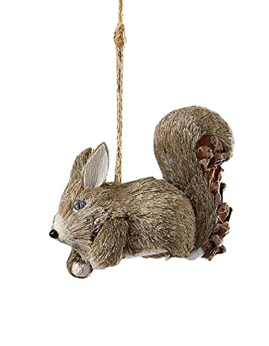 Sage & Co. XAO14368GY Sisal Squirrel Ornament, 4.5-Inch