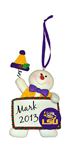 Claydough Snowman with Sign Ornament, Louisiana State University