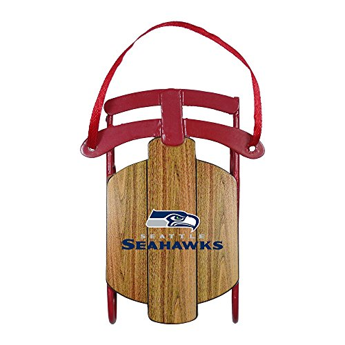 Seattle Seahawks Official NFL 3.5 inch Metal Sled Christmas Ornament
