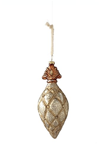 Sage & Co. XAO16838PL 7″ Glass Fleur De Lis Drop Ornament