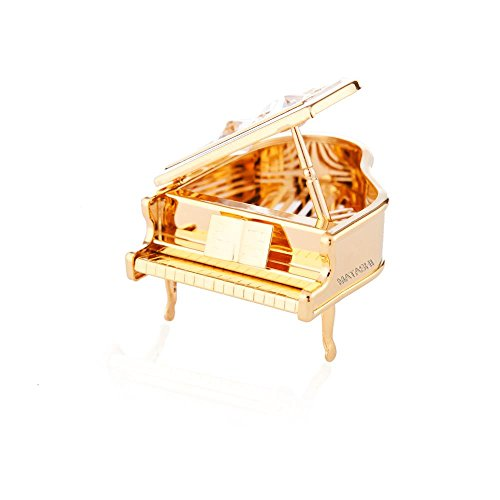24k Gold Plated Highly Polished Piano Ornament Made with Swarovski Elements Crystals By Charming Temptations