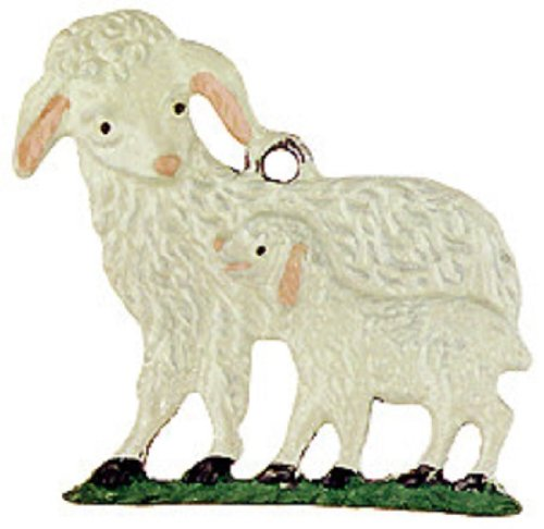 Sheep with Lamb German Pewter Christmas Ornament