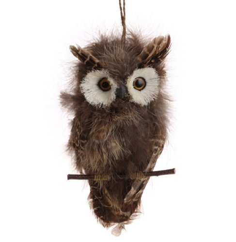 Flat Brown Feather Owl on Branch Christmas Ornament, 7.5 Inches Long