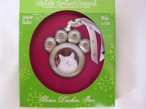 Pet Photo Frame Pewter Christmas Ornament ; Cat Dog 2 1/2″ Collectible