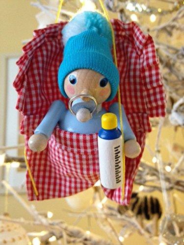 Steinbach Baby Boy in Bunting Handmade Germany Ornament