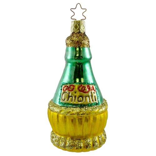 Inge Glas CHRISTMAS CHIANTI Blown Glass Ornament Wine Italy 109804
