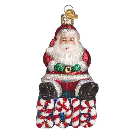 Old World Christmas 2015 Candy Cane Santa Ornament