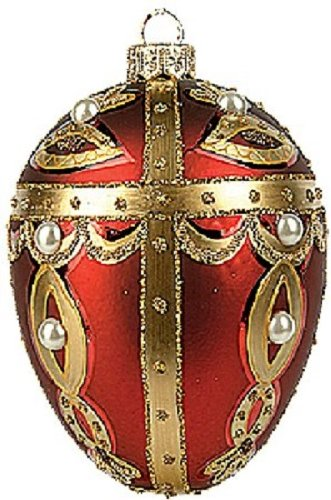 Faberge Inspired Polish Glass Christmas Ornament Egg