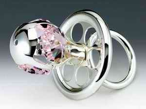 Pacifier Silver Swarovski Crystal Ornament Figure Pink