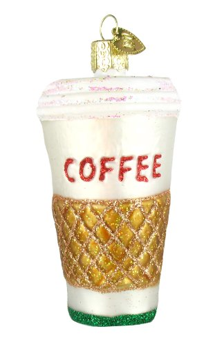 Old World Christmas Coffee to Go Glass Ornament