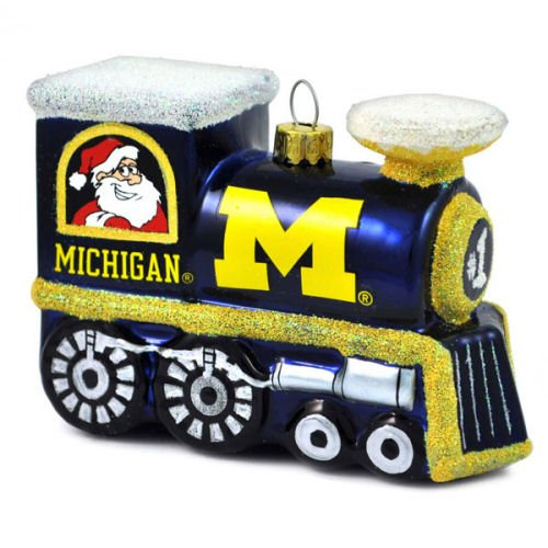 NCAA Michigan Wolverines Blown Glass Train Ornament