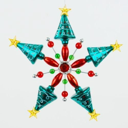 Christmas Vintage-retro Style Turquoise and Red Tree Ornament, 6.5 Inches