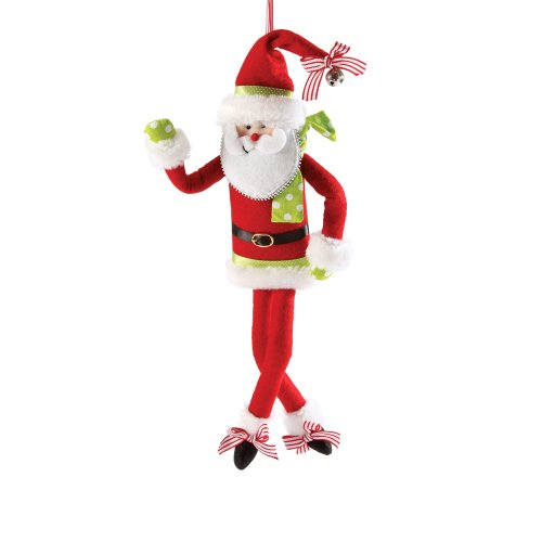 Department 56 Claus for Celebration Claus Dot and Sripe Bendable Ornament, 5-1/2-Inch