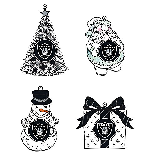 LED Holiday Orn 4 Assort, 3in, Oakland Raiders