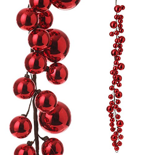 RAZ Imports – 4′ Red Christmas Ball Garland