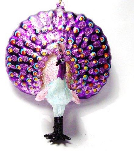 Purple Glass Peacock Ornament