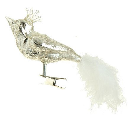7″ Speckled Glass Queen Bird with Faux Feather Tail Clip-On Christmas Ornament