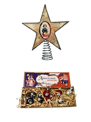 Bethany Lowe Americana Box Mini Ornaments & Patriotic Star Tree Topper