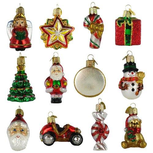 """Old World Christmas Mini Christmas Set of 12, 1 """" to 2 """" Glass Ornaments"""