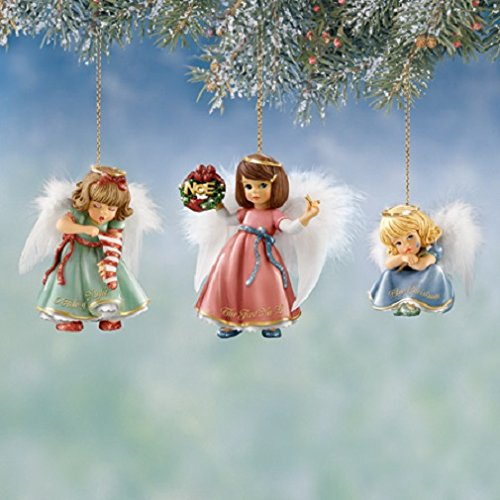 Christmas Cuties Angel Ornaments, Little Girl Angels with Feather Wings, Set of 3