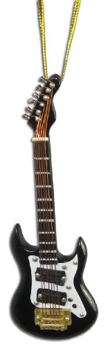 Miniature Black Electric Guitar Christmas Ornament 4″