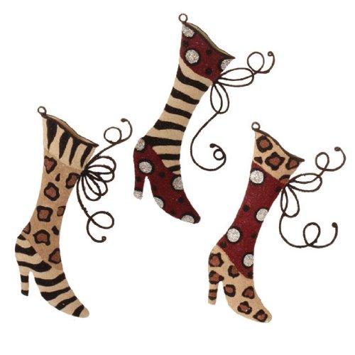 RAZ Imports – Flocked High Heel Animal Print Boot Ornaments – (Set of 3)