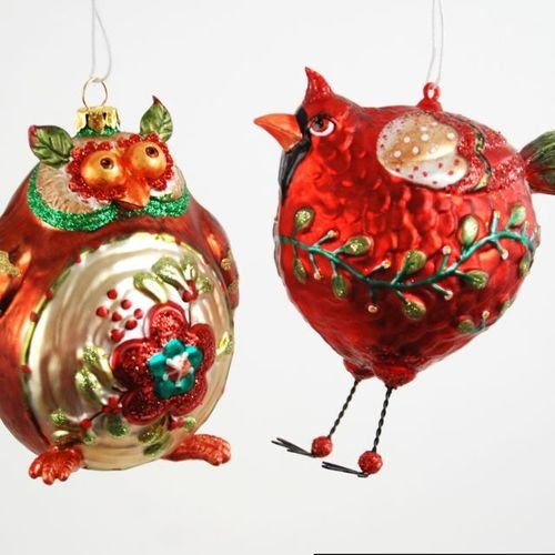 Whimsical Wildlife Owl and Virginia Red Cardinal Christmas Holiday Ornament Set