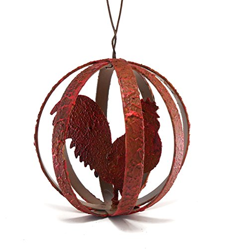 Metal Rooster Ball Hanging Ornament