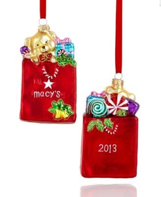 Macy's Signature Keepsake Shopping Bag Glass Christmas Ornament 2013 Edition