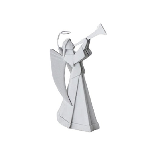 Porcelain Origami Style Angel with Trumpet Figurine, 7.25 Inches Tall