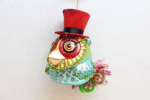 December Diamonds Glass Owl with a Red Hat Ornament.Perfect Gift for a Bird Watcher or Owl Collector.