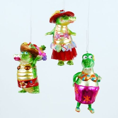 Tropical Alligator Best Friends Christmas Holiday Tree Ornaments Set