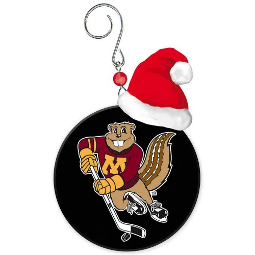University of Minnesota Golden Gophers Puck Christmas Ornament