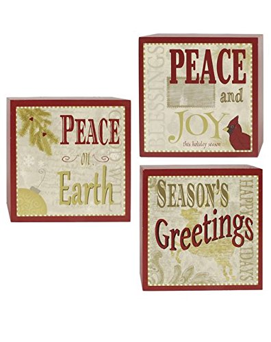 Blossom Bucket Wall Box Signs, Peace/Seasons Greetings/Joy, Set of 3