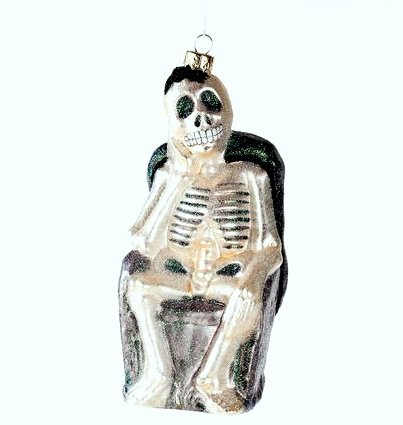 Halloween or Christmas Skeleton Ornament, Glass, 6.5 Inches