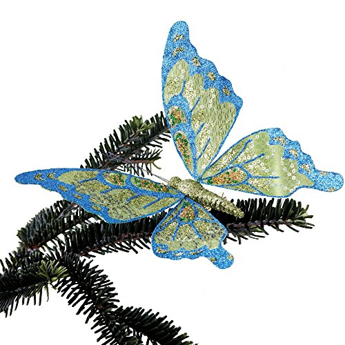 Sage & Co. XAO12015MU Glittered Sheer Butterfly Ornament