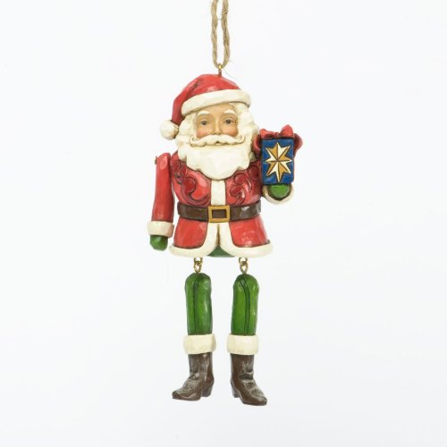 Jim Shore for Enesco Heartwood Creek Santa Dangling Arms Ornament, 5.5-Inch