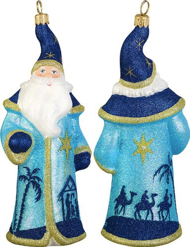 Glitterazzi Nativity Santa Glass Christmas Ornament – New for 2013 – Joy to the World Collectibles