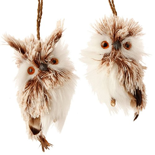 Pair 4″ White Brown Fuzzy Feather Hanging Whimsical Owl Christmas Ornament