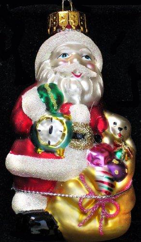 2006 Macy's Holiday Lane Molded Glass Christmas Ornament Santa Holding Clock