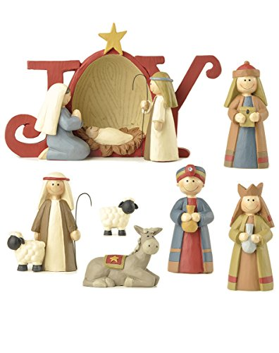 5 inch 7 Piece Resin Stone Christmas Joy Nativity Set
