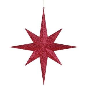 Vickerman Christmas Trees M116603 Star Glitter 8 Point Ornament, 24-Inch, Red